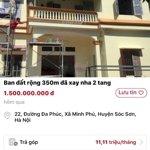 Bán nhà 2 tầng đẹp tại xã minh phú sóc sơn hà nội diện tích: 350m2 giá bán 1500 triệu