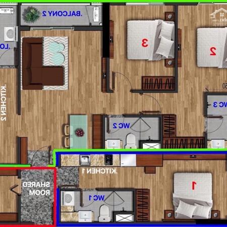 Căn hộ 2 chìa khoá 2 không gian riêng biệt Duel-Key Akari City- Ảnh 3